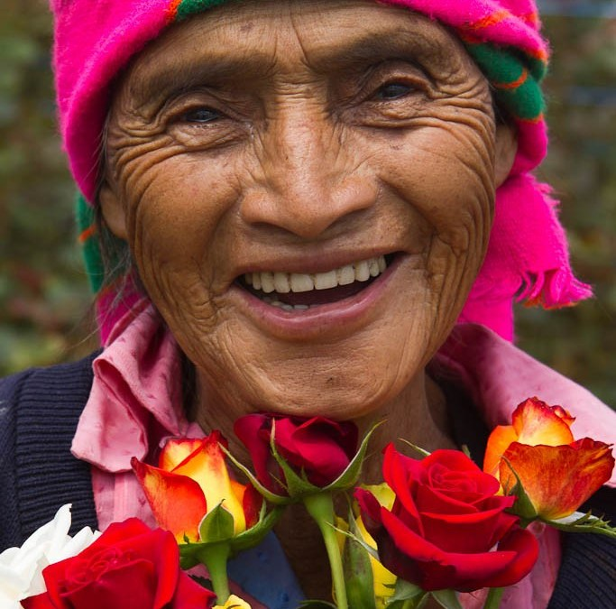 Ninety-four year old smile with roses