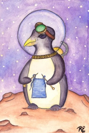 Penquinaut! This Penguin steampunk astronaut who knits is not a Daily Creativity