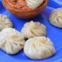 Momos and red chilly dip!!
