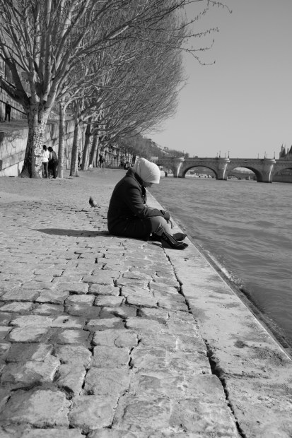 Muslim girl on the Seine.