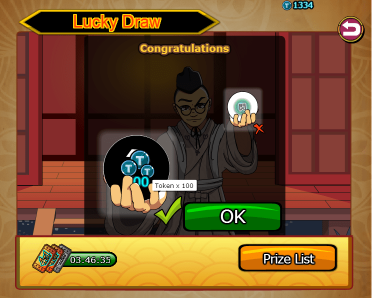 Cheat Ninja Saga Token Permanen won 100 token in lucky draw Ninja saga guide cheats tips hints 746x596