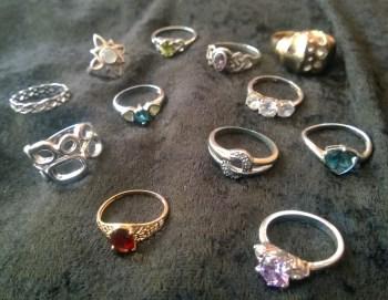 rings on black velvet- so classy