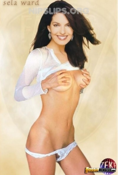 Sela Ward topless and with her pubes showing
