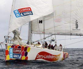 20151123 Free for editorial use image, please credit: Richard Wainwright/Clipper Race  Derry~Londonderry~Doire finishes second in the Wardan Whip from Cape Town, South Africa to Albany, Australia.