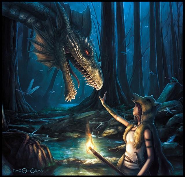 dragon painting at night