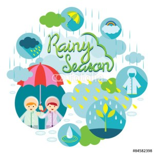 Rainy season girl boy illustration
