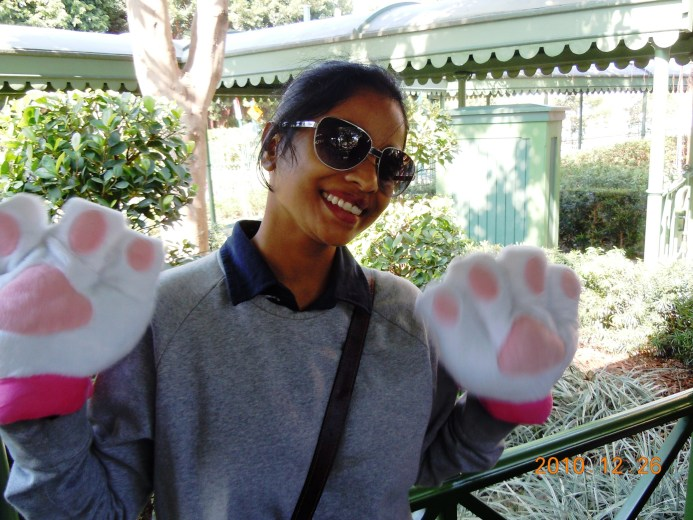 Fooling around with the giant paws we bought in Disneyland to keep our hands warm