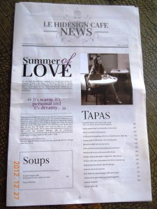 The Hidesign Cafe Menu in the form of a Newspaper