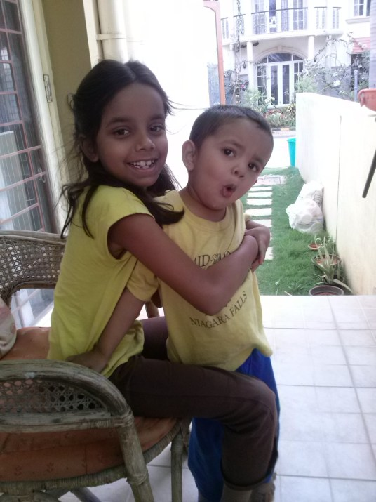 My matchy matchy littles staying cheerful inspite of the heat and lack of power