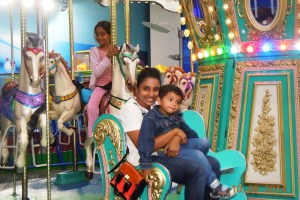 On the carousel with Piglet and Snubnose