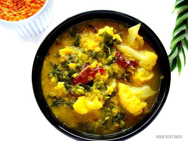 Lentils Kale Cauliflower Curry   Nish Kitchen
