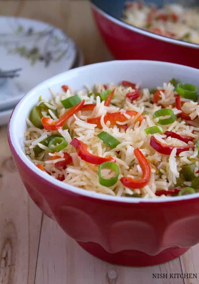 Ginger capsicum fried rice recipe