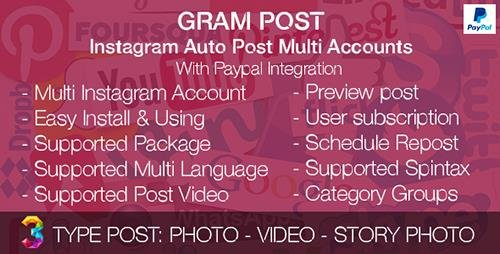 CodeCanyon - Gram Post v1.0 - Instagram Auto Post Multi Accounts with Paypal integration - 19264650
