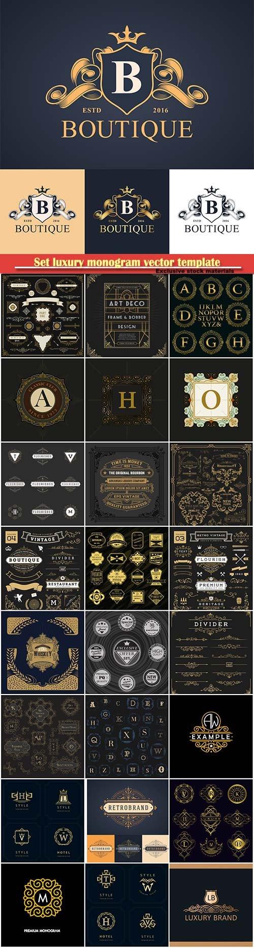 Set luxury monogram vector template, logos, badges, symbols # 11