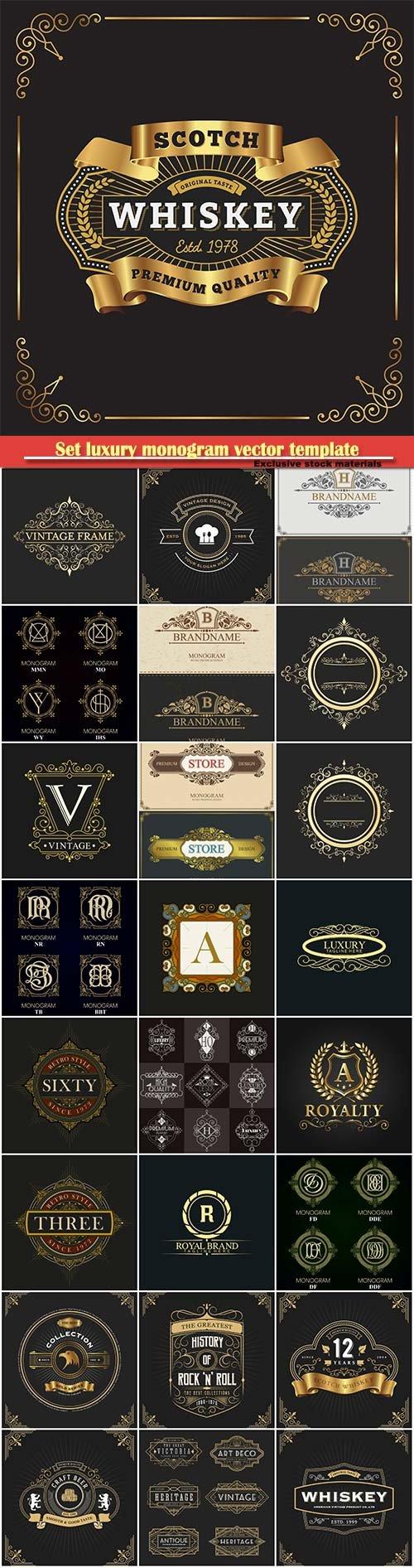 Set luxury monogram vector template, logos, badges, symbols # 13