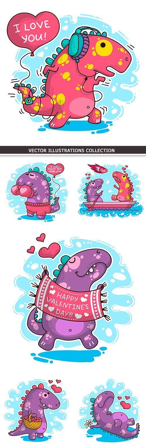 Dinosaur amusing cartoon illustration St. Valentine's Day