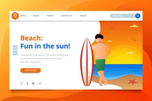 Enjoy On The Beach Web Header Template