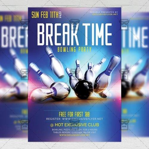 Bowling A5 Template - Break Time Flyer