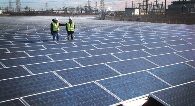 Advanced Solar Products, Fairfield, built this 3.2-megawatt, 11,000-panel solar facility in Linden for PSE&G. It is located on a former brownfield site.