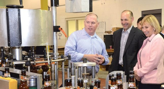 Lt. Governor Kim Guadagno celebrates the economic strength of New Jersey small businesses during a visit to River Horse Brewing Company. (Photo courtesy of the Governor's Office)