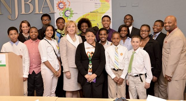 Lt. Governor Kim Guadagno with students from Building Our Youth's Development during Junior Achievement's Career Success program at NJBIA's headquarters in Trenton.