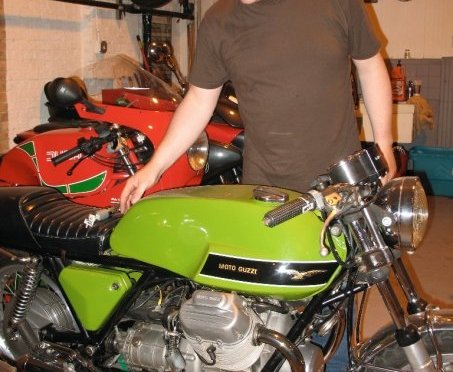 Stephen Pate checking out a Moto Guzzi