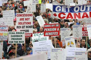 Nortel pensioners and their supporters rallied on Parliament Hill Thursday. Photograph by: Pat McGrath, The Ottawa Citizen