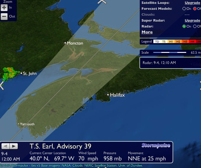 Tropical Storm Earl expected landfall east of Yarmouth (image PulseWeather)