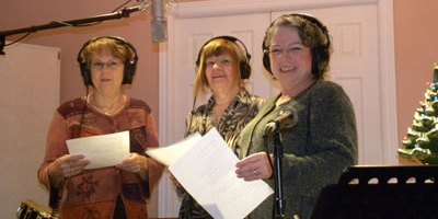 Blue Christmas practice - Debbie Proud, Paula  and Diane Ogg practice before recording (photo Wayne Larkin Facebook)