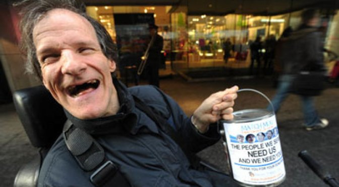 His name is Muki Baum, he has cerebral palsy, he's deaf and can barely speak. Yet for almost 20 years he's been fundraising outside Holt Renfrew for people with disabilities. His tally to date is a staggering $600,000. VINCE TALOTTA/TORONTO STAR