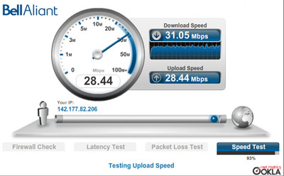 BellAliant FiberOp speed test