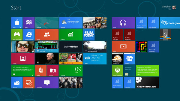 My customized Home Scree with Windows 8 Consumer Preview