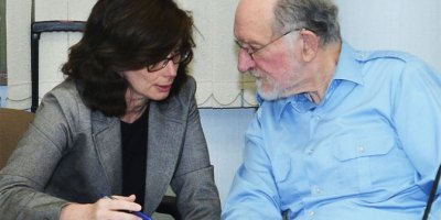 Karen Campbell QC discusses Human Rights case with UPEI Professor Thomy Nillson (Guardian Photo)