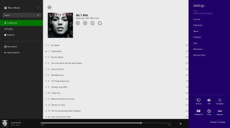 Windows Charm Settings inside Xbox Music