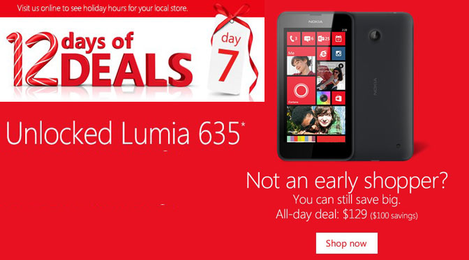 Lumia 635 for $129 – Microsoft 12 Days of Deals