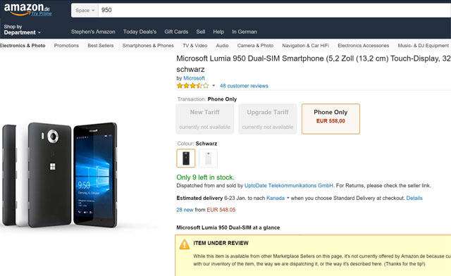 Amazon Pulls Microsoft Lumia 950 and 950 XL From Sales