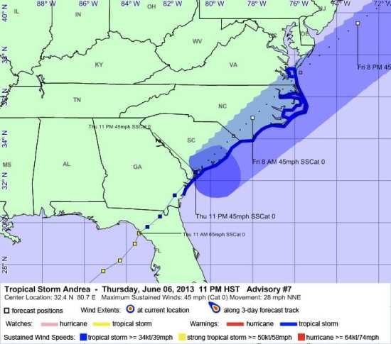 Tropical Storm Andrea Advisory #7