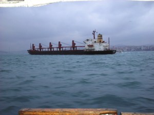 A ship passes through the Bosphorus