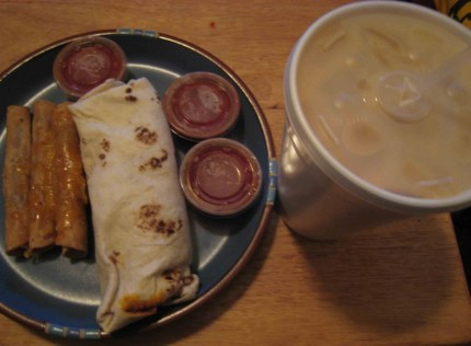 Burrito, taquitos and horchata