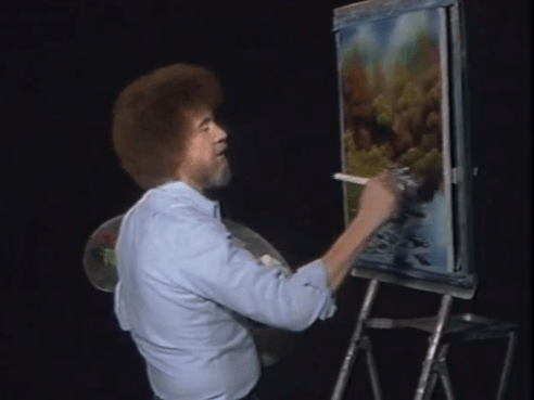 landscape artist Bob Ross on Twitch