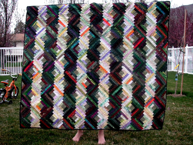 eat your greens, log cabin quilt