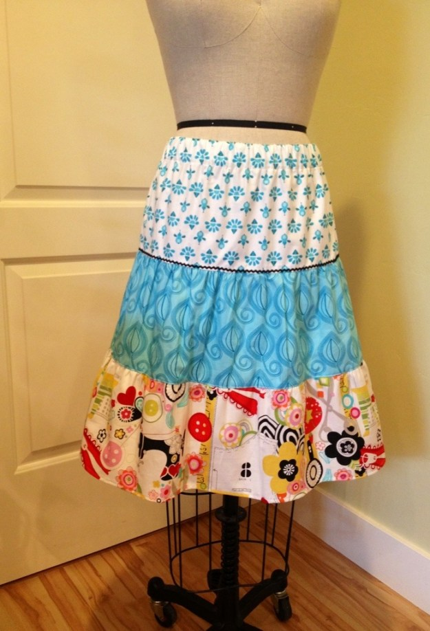 3 tiered skirt with gathering and rick rack