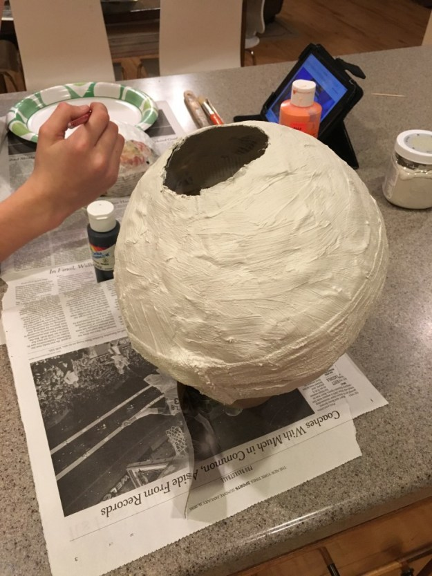 paper mache ball for BB8 body