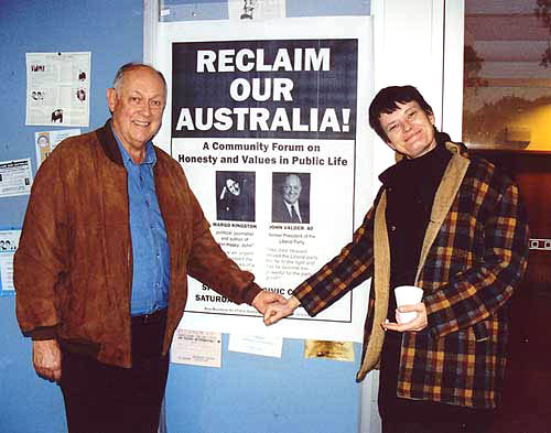 Former Liberal Party federal president John Valder and Margo at a forum in the Blue Mountains, 2004.
