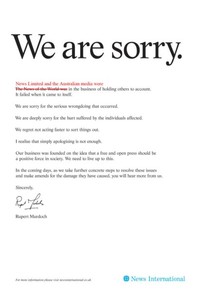 Murdoch apology front page on #NOTW