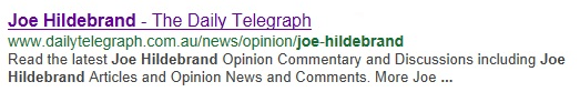 Joe Hildebrand google search