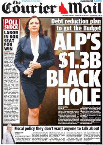 17/01/15 The Courier Mail  - Debt reduction plan to gut the Budget - ALP's $1.3B Black Hole