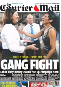 24/01/15 The Courier Mail  - Gang Fight - Labor dirty money claims fire up campaign clash