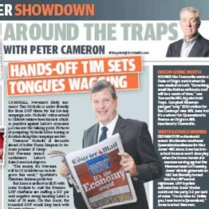 "25/01/15 - Tim Nicholls in The Sunday Mail reading The Courier Mail ""It's the Economy stupid"""