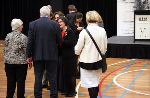 Independent Member fo Indi Cathy McGowan chats to people attending the Spirit of Anzac launch in Wodonga: Photo: Wayne Jansson